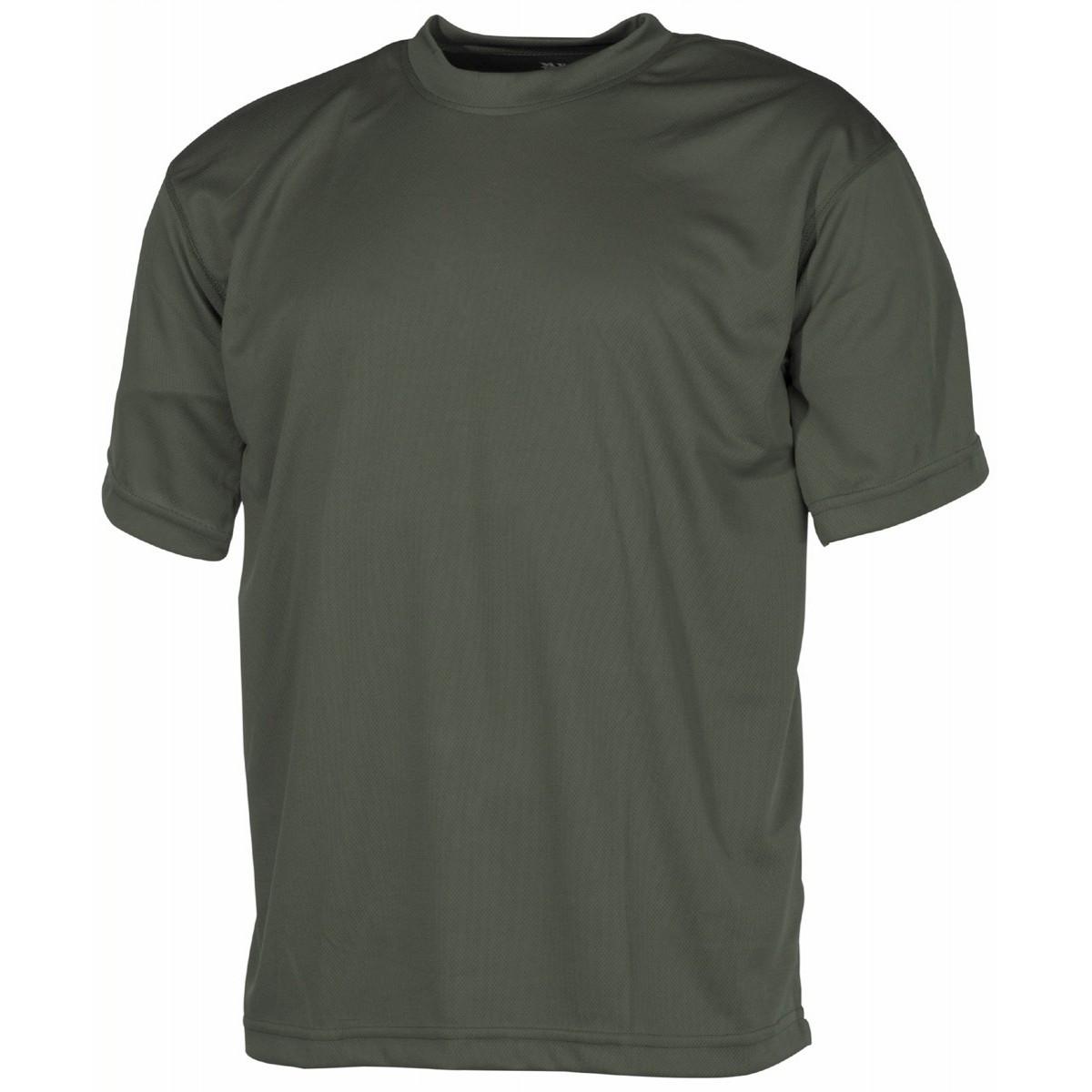 Футболка армейская тактическая потоотводящая тёмно-зелёная (олива) MFH
