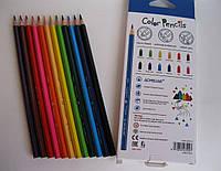 Цветные карандаши Acmeliae, треугольные 12 цветов, фото 1