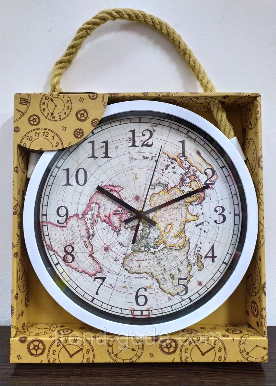 Часы настенные белые с картой мира на циферблате