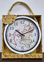 Часы настенные белые с картой мира на циферблате, фото 1