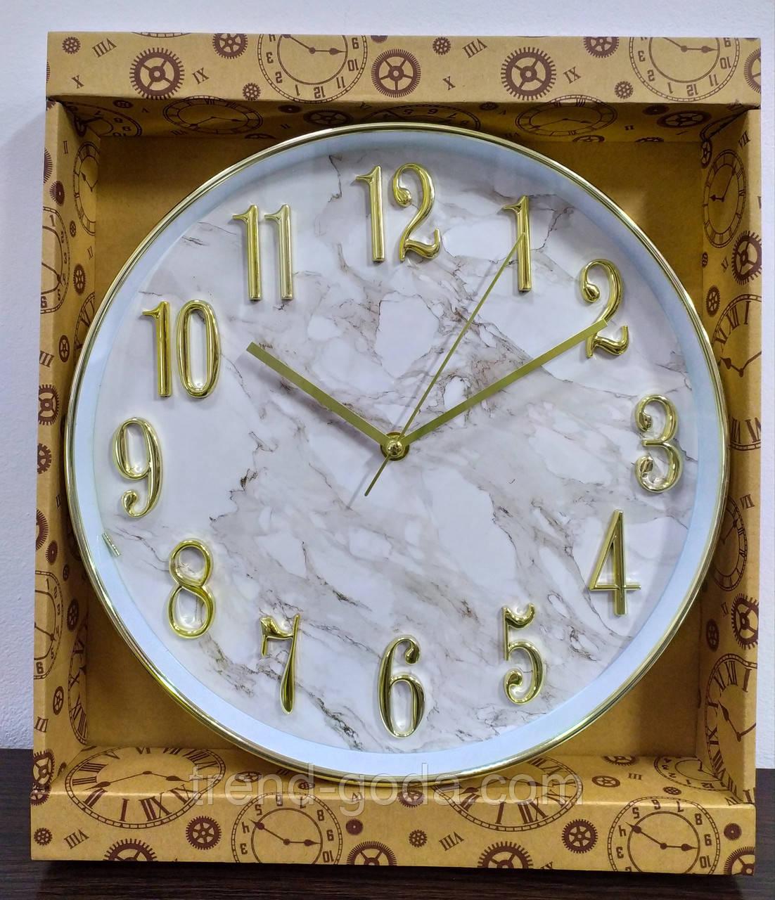Часы настенные, сделанные под мрамор, белые с золотым