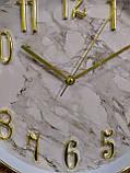 Часы настенные, сделанные под мрамор, белые с золотым, фото 2