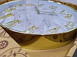 Часы настенные, сделанные под мрамор, белые с золотым, фото 4