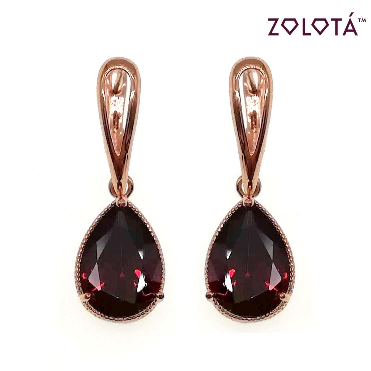 Серьги Zolota из медицинского золота с темно-красными фианитами (куб. цирконием), в позолоте, ЗЛ00678 (1)
