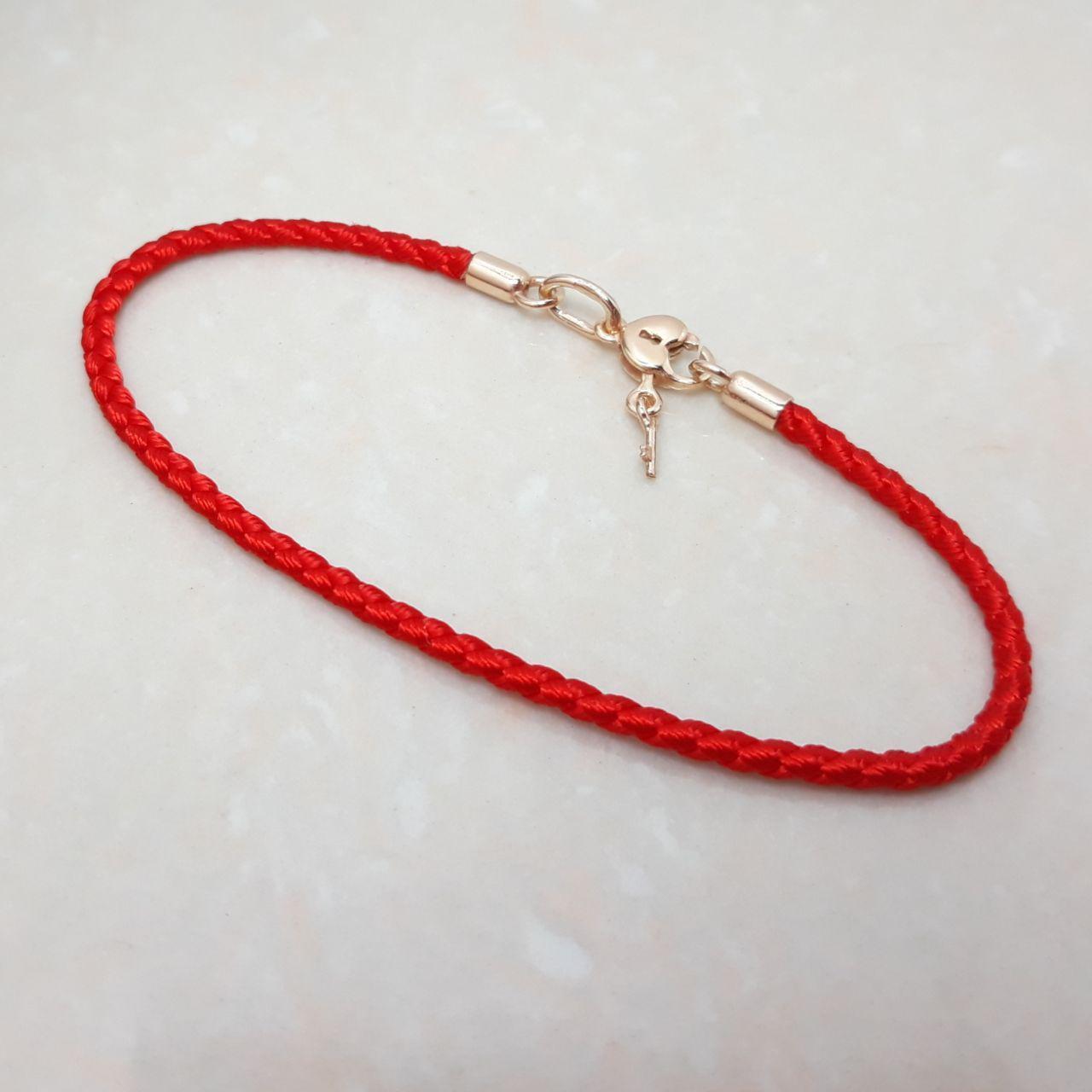"""Браслет-оберег """"Красная нить"""",серебро 925, красное золото, натуральный шёлковый шнур Валенсия - качество ТОП!!"""