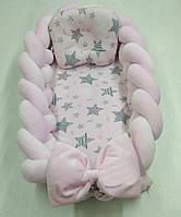 Позиционер с ортопедической подушкой для новорожденных Звезды