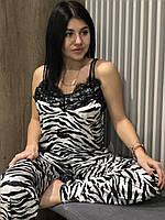 Пижама велюровая со штанами - зебра, велюровые пижамы теплые., фото 1