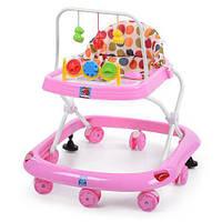 Детские музыкальные ходунки с подвесками, на колесах (BW0101) Розовый