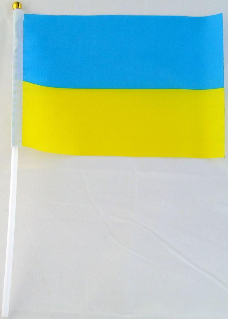 Флажок Украины 13x20см на пластиковом флагштоке