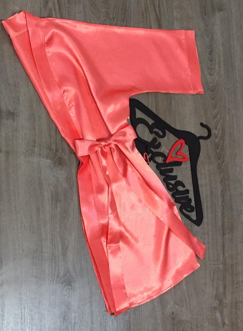 Персиковый атласный халат для дома .