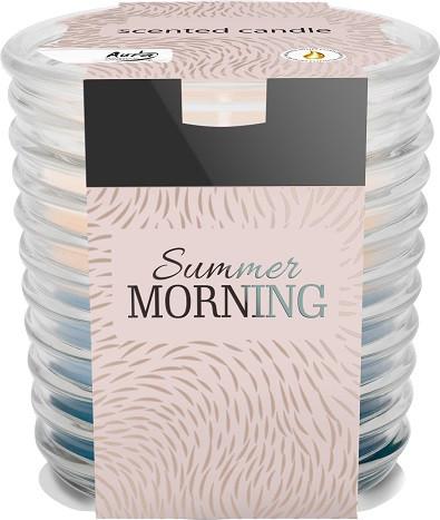 Аромасвеча трехцветная в фактурном стекле Bispol летнее утро 8 см (snw80-252)