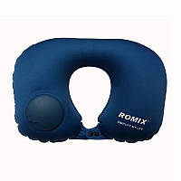 Дорожная надувная подушка для шеи со встроенной помпой Romix тёмно-синяя