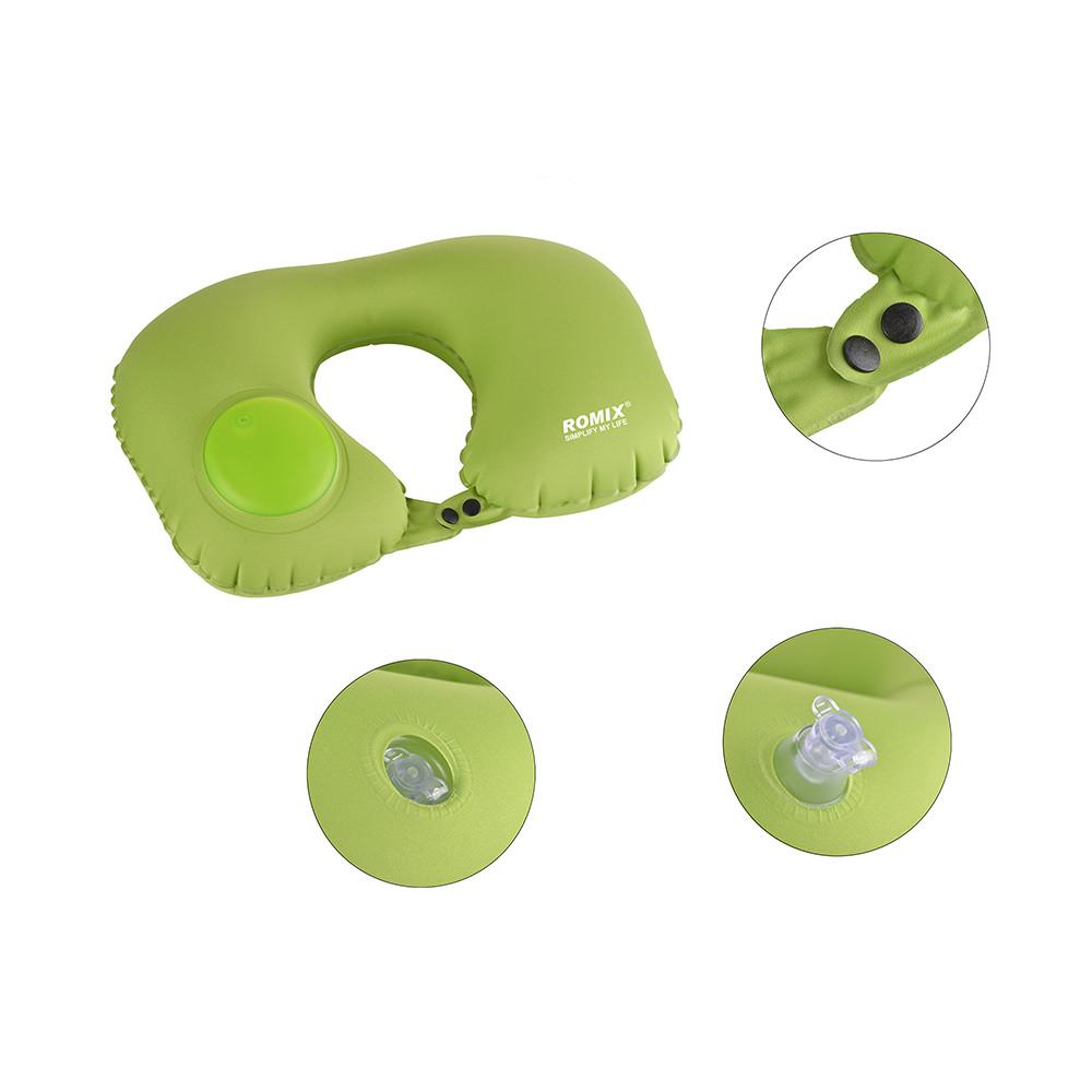 Дорожная надувная подушка для шеи со встроенной помпой Romix зелёная