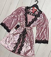Нежный велюровый халат с кружевом ТМ Exclusive082-1.