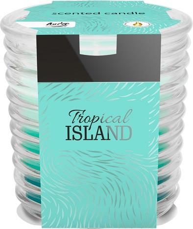Аромасвеча трехцветная в фактурном стекле Bispol топический остров 8 см (snw80-274)