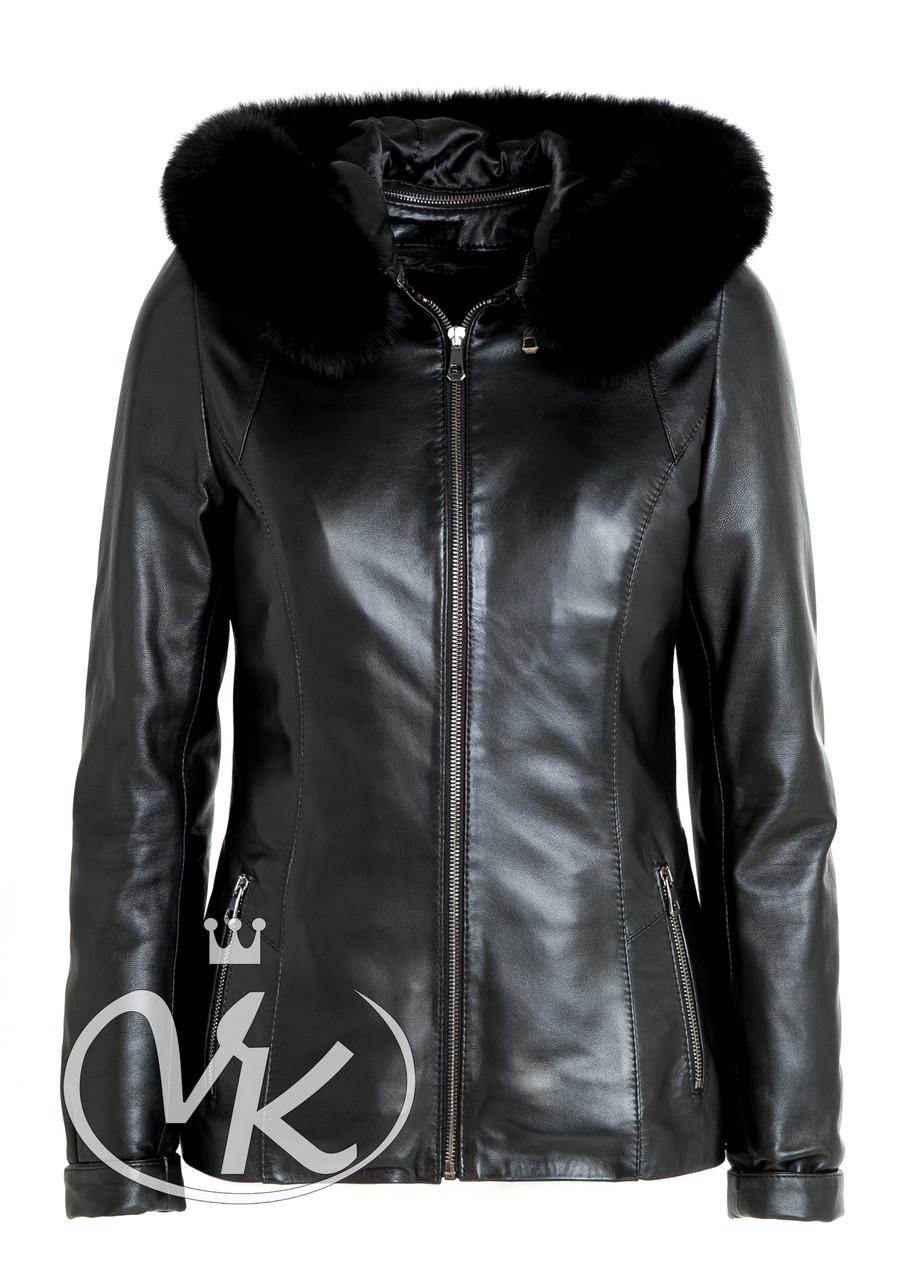 Кожаная куртка на меху с капюшоном зимняя женская (Арт. PRM202)