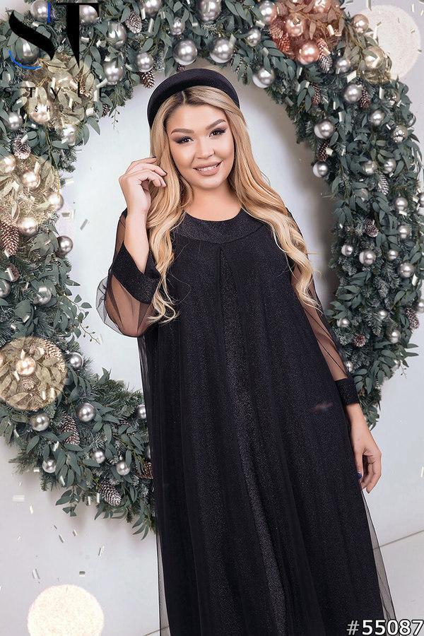 Платье нарядное вечернее шикарное черное размеры: 52-66