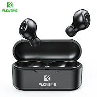 HI-FI беспроводные Bluetooth наушники FLOVEME TWS 5,0 с зарядным устройством-чехлом. Черные.