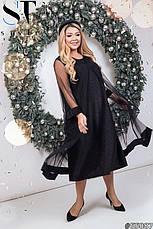 Платье нарядное вечернее шикарное черное размеры: 52-66, фото 2