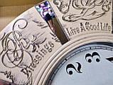 Часы настенные большие, кремового цвета с зеркальными вставками, фото 4