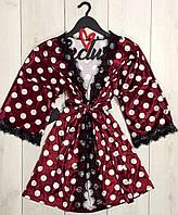 Бордовый велюровый халат в горошек 022, халаты женские.