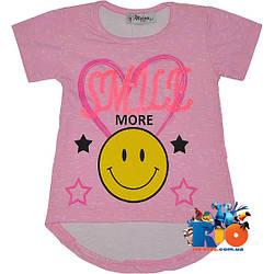 "Летняя футболка ""Smile More"" , из трикотажа , для девочки от 4-8 лет (4 ед. в уп.)"
