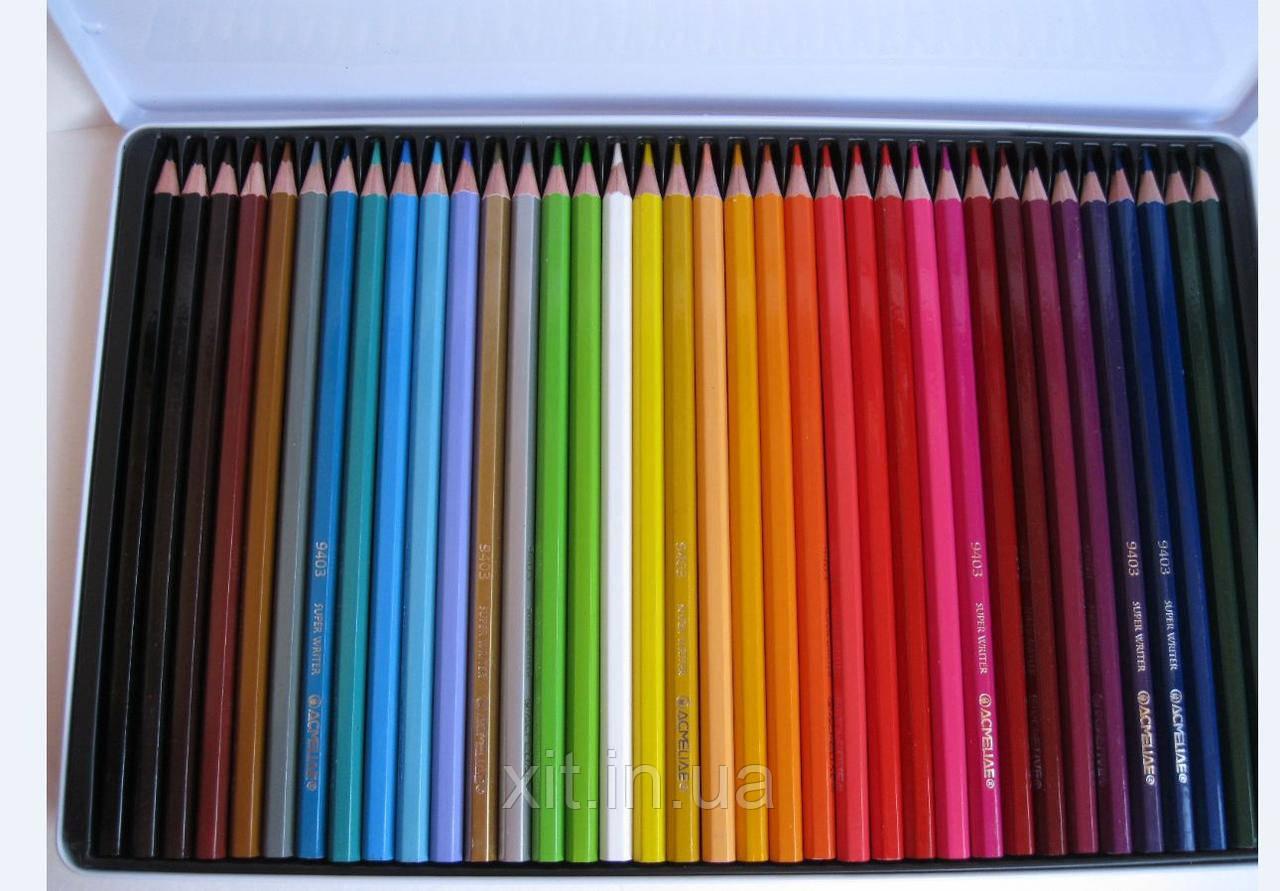 Цветные карандаши в металлической коробке Acmeliae, 36 цветов