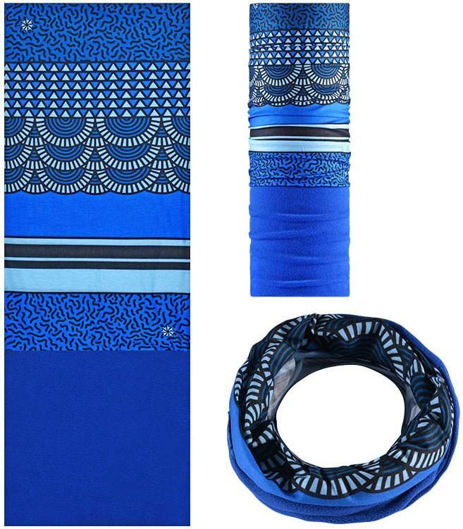 Зимняя мультиповязка (горловик) с флисом RockBros синий орнамент