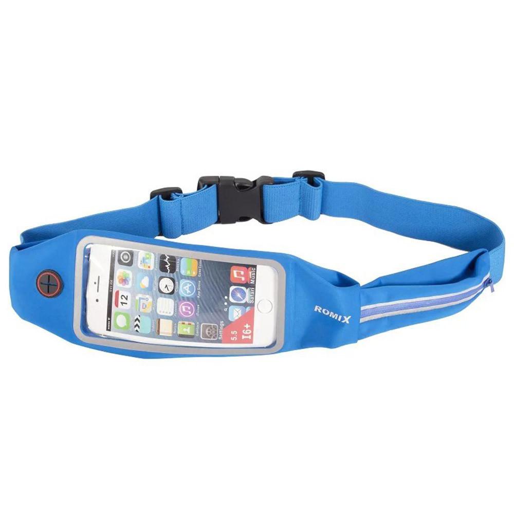 Пояс-сумка с сенсорным экраном 5.5 + карман Romix синяя