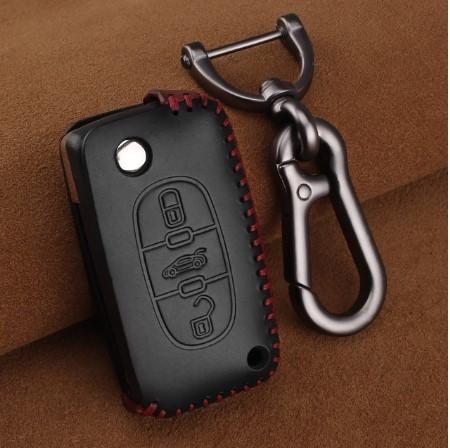 Премиальный кожаный защитный чехол для флип ключа CITROEN (Ситроен) черный 3 кнопки