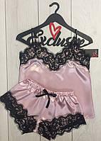 Пижама майка и шорты с кружевом ТМ Exclusive 020-1, атласные пижамы.