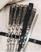 """Шампуры ручной работы с ручками из чернённой бронзы """"Лесные"""" в кожаном колчане, 6шт"""