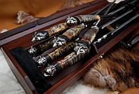 """Эксклюзивный подарочный набор для мужчины """"Хищница"""" в футляре из морёного вяза. Статусный подарок бизнесмену."""