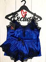 Синий шелковый пижамный комплект с кружевом майка и шорты., фото 1