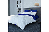 Постельное белье, евро  комплект, хлопковое постельное белье, ткань  Ранфорс, STRIPE BLUE