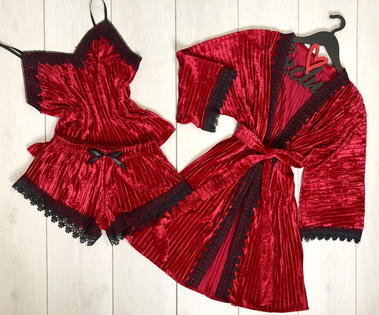 Бархатный   халат+пижама майка и шорты-гофрированный велюр.