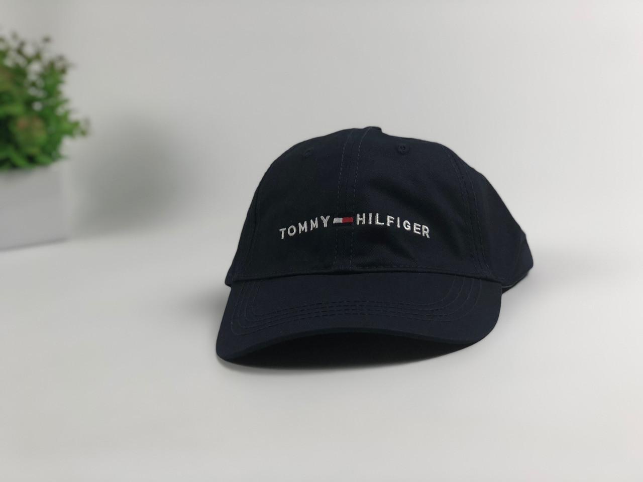 Кепка бейсболка Tommy Hilfiger надпись+лого (темно-синяя)