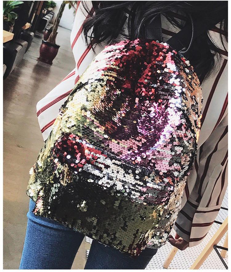 Женский рюкзак с Паетками Хамелеон (золото-серебрянный)
