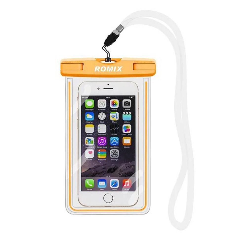 Флуоресцентный водонепроницаемый чехол для мобильного телефона Romix оранжевый