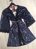 Женские домашние халаты, велюровый халат с кружевом .