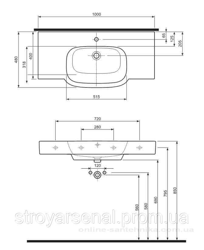 VARIUS умывальник мебельный с отверстием,с переливом 100*48 см для ком 2