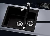 Прямоугольная гранитная мойка AquaSanita Cuba SQC-150, 2 чаши, с клапаном-автоматом