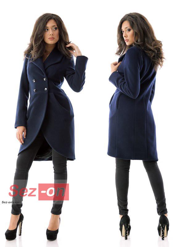 Пальто-фрак жіноче кашемірове ― Темно синій