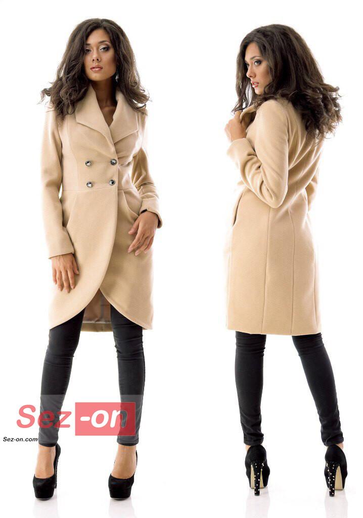Пальто-фрак жіноче кашемірове ― Бежевий