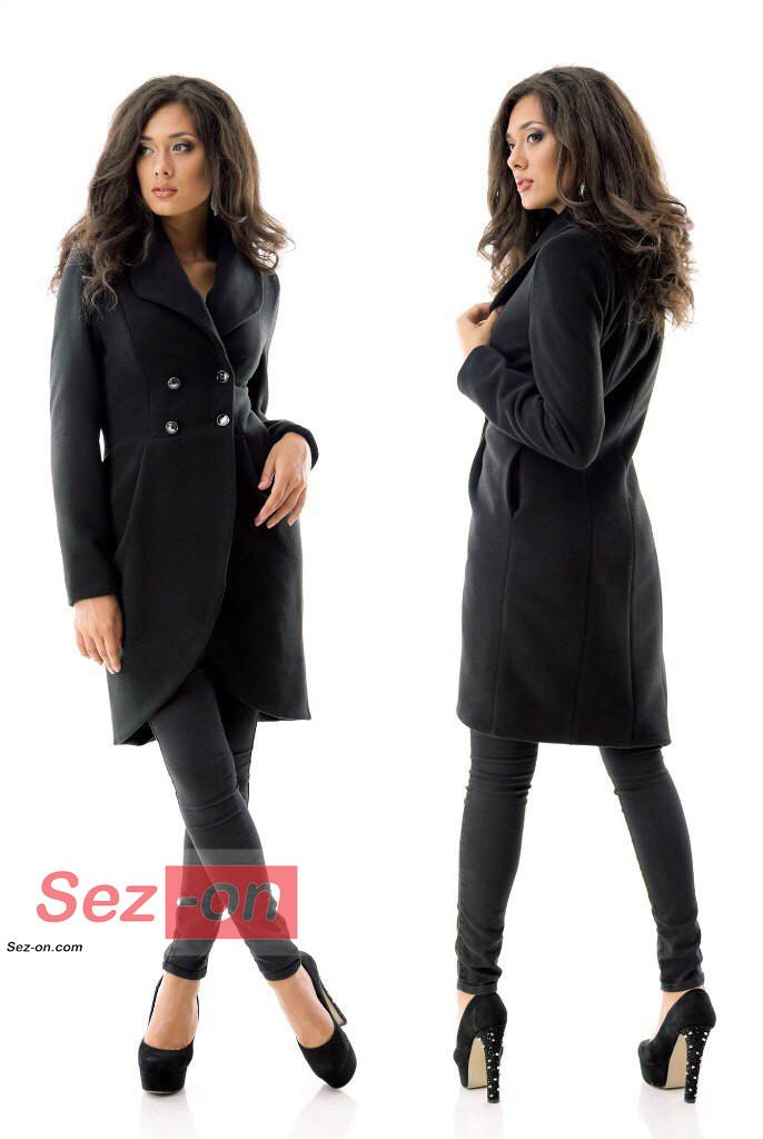 Пальто-фрак жіноче кашемірове ― Чорний