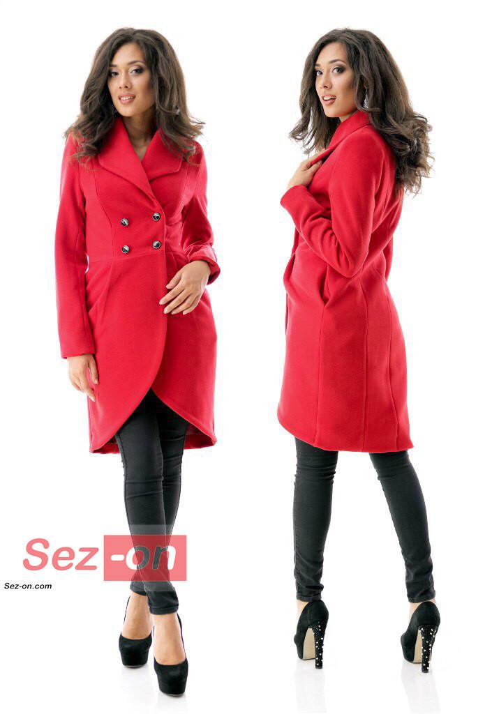 Пальто-фрак жіноче кашемірове ― Червоний