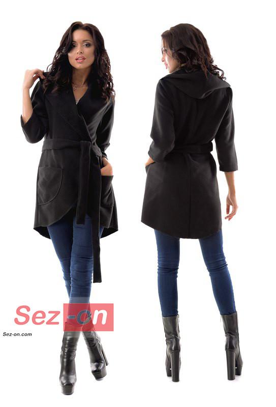 Пальто-накидка жіноча з капюшоном ― Чорний