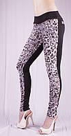 Лосины Листочка леопард с цветочным принтом