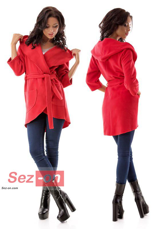 Пальто-накидка жіноча з капюшоном ― Червоний