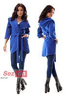 Пальто-накидка женское с капюшоном - Синий